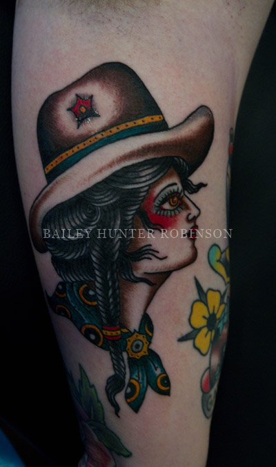 Inner arm cowgirl copper beehive tattooing by bailey for Williamsburg tattoo shops