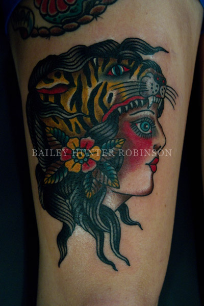 Tiger hat copper beehive tattooing by bailey hunter for Williamsburg tattoo shops